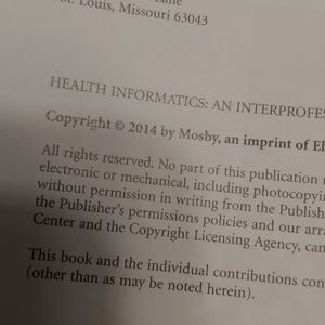 published by Mosby Other - Health Informatics Text Book